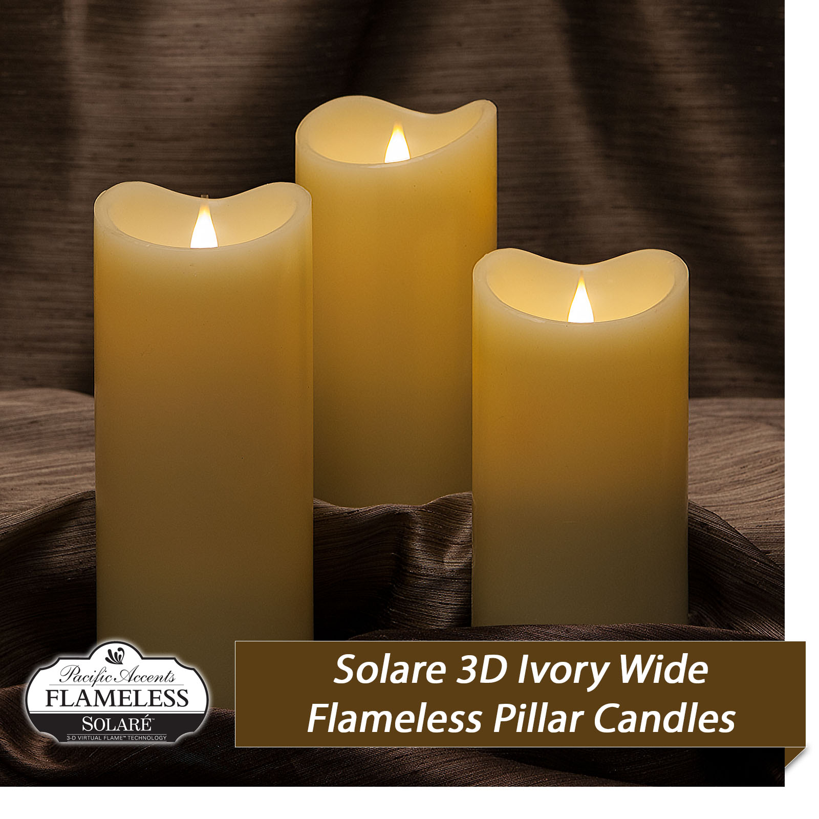 Solare Wide Flameless candles with 3D Flame