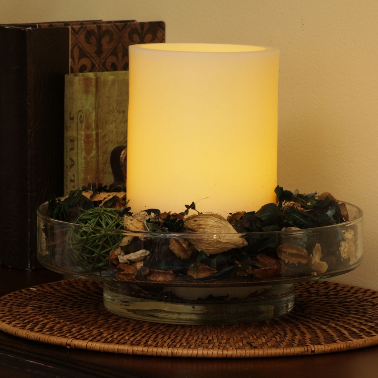 Bingham fillable glass dish with flameless candle