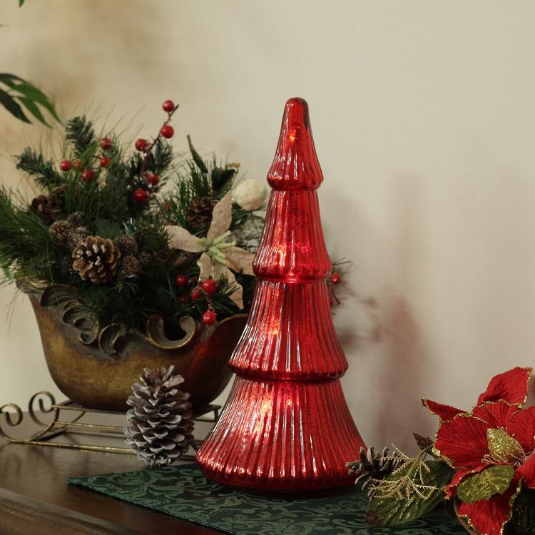 highland aura mercury glass christmas trees with led lights - Glass Christmas Trees