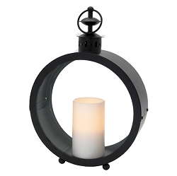 Greenwich Flameless Candle Lantern with Resin Pillar Candle