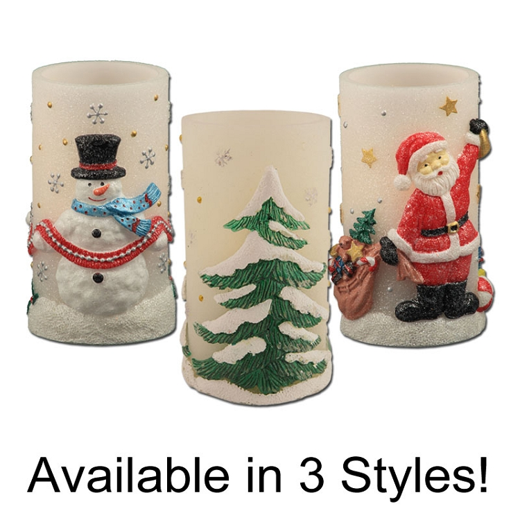 Holiday Bliss Flameless Pillar Candle with Timer | Pacific Accents