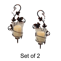 Mendocino Vine Sconces With Flameless Pillar Candles (Set of 2)