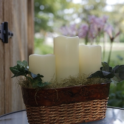 Ivory Outdoor Flameless Pillar Candles Melted Look