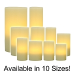 Flameless Wax Pillar Candles Ivory