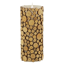 Solare 3D Virtual Flame Candles with Color-Hue Technology Wood