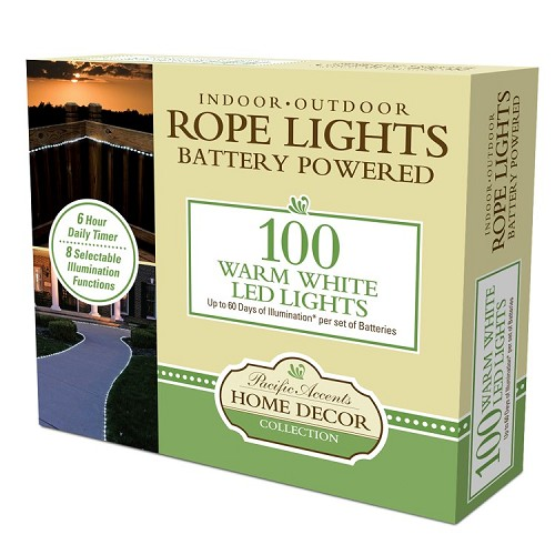 Battery operated rope lights tube lights warm white battery powered rope lights 100 led warm white aloadofball Gallery