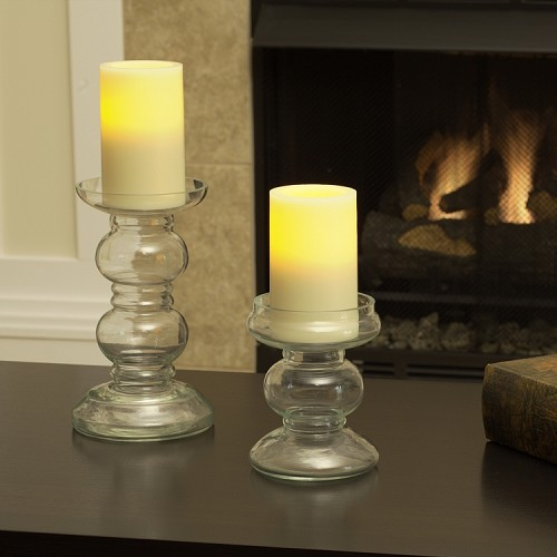 Hampton Flameless Pillar Holders - Set of 2