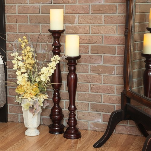 Hartford Wooden Flameless Candle Stand With Candle
