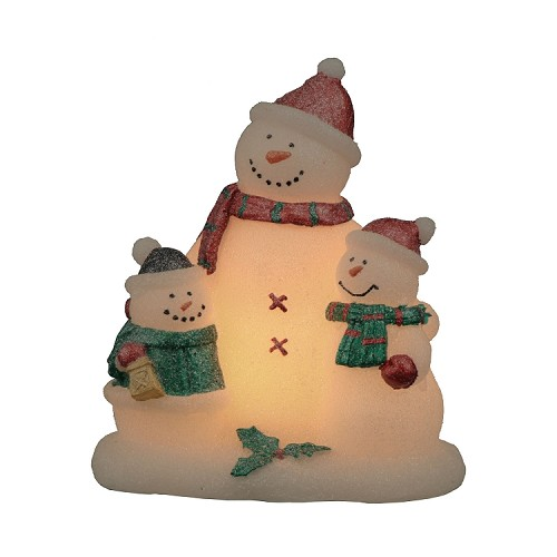 Wonderful Winter Sculpted Snowman Family Flameless Candle