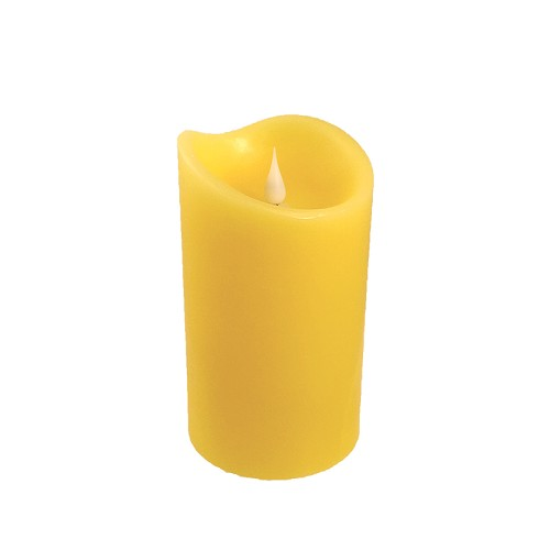 Solare 3D 3.75 x 6.5 Yellow Flameless Melted Wax Candle
