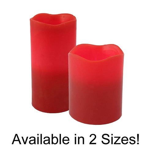 Red Flameless Melted Top Pillar Candles