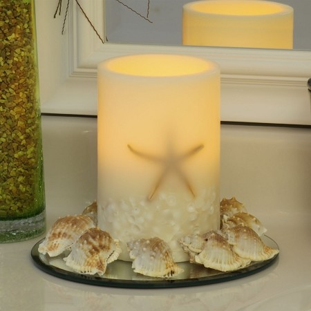Oceanside Flameless Wax 4 x 6 Seashell Pillar Candle