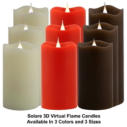 Solare 3D Virtual Flame Candles with Color-Hue Technology