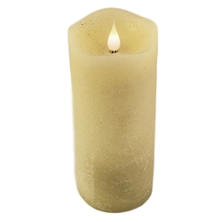 Solaré Distressed 3D Virtual Flame Ivory 3x7 Melted Wax Candle