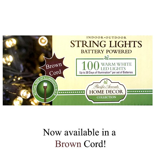 Battery Operated Brown String Lights 100 LED Indoor or Outdoor Use