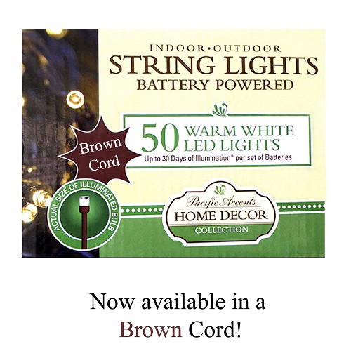 Battery Operated Brown String Lights 50 LED