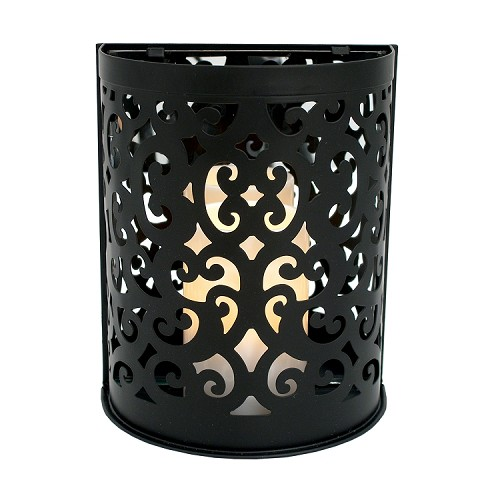 Montrose Flameless Candle Etched Sconce Black