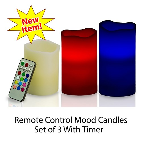 Flameless Color Changing Mood Candles with Remote and Timer